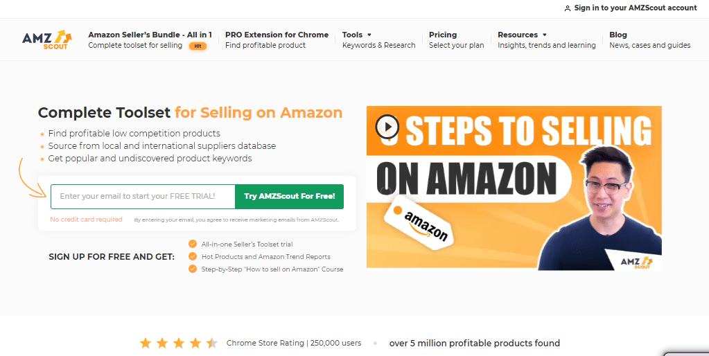 amazon product hunting tool amz scout